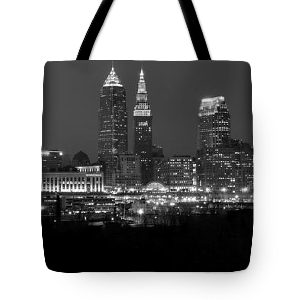 Abstract Tote Bag featuring the photograph A Cleveland Black And White Night by Frozen in Time Fine Art Photography