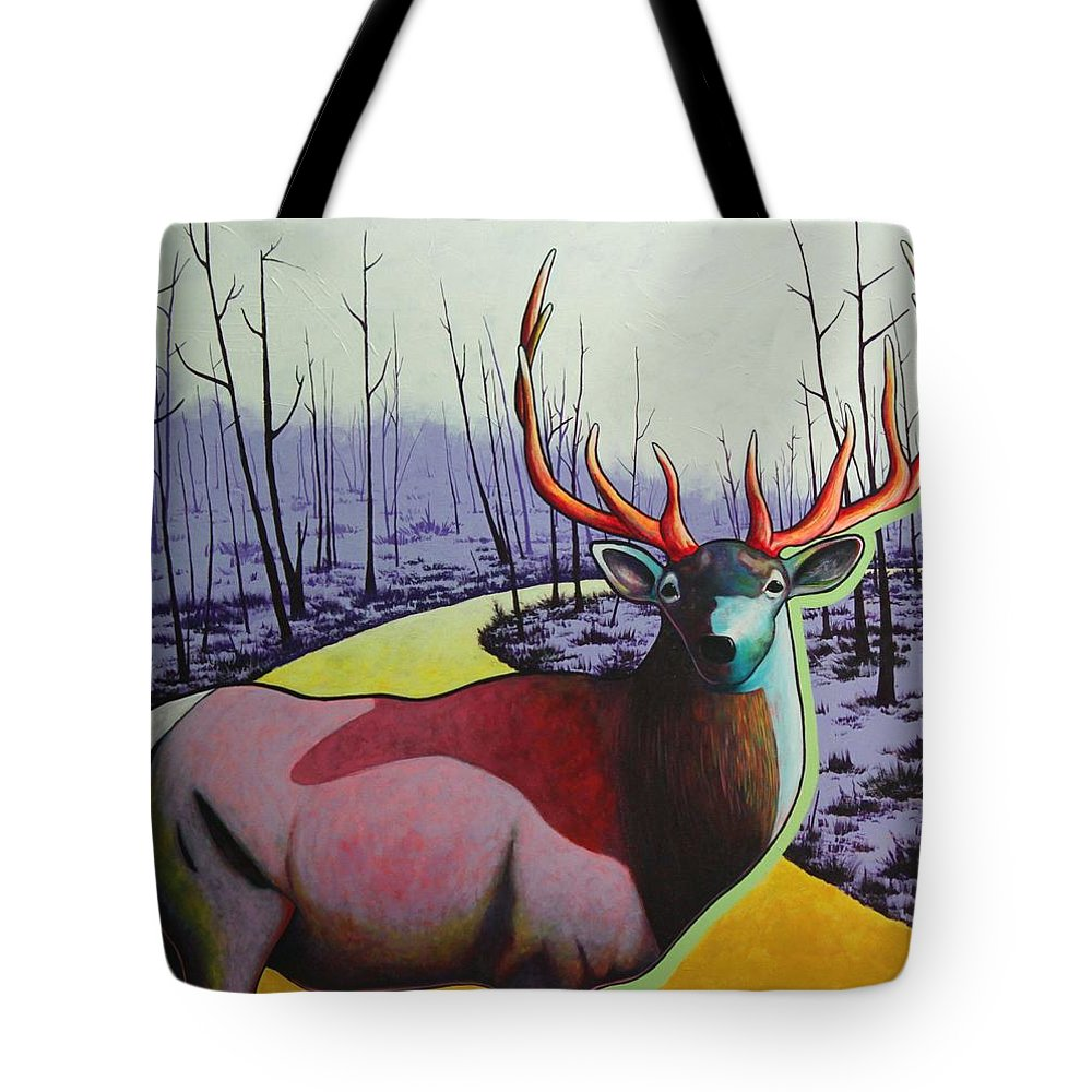 Wildlife In Yellowstone Park Tote Bag featuring the painting A Close Encounter In Yellowstone by Joe Triano