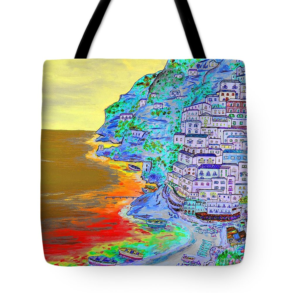 Loredana Messina Tote Bag featuring the painting A Coastal View Of Positano by Loredana Messina