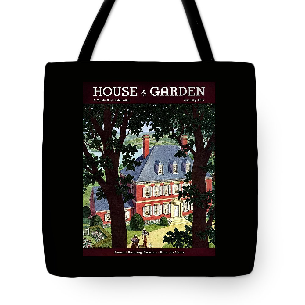 House And Garden Tote Bag featuring the photograph A Colonial Manor House by Pierre Brissaud