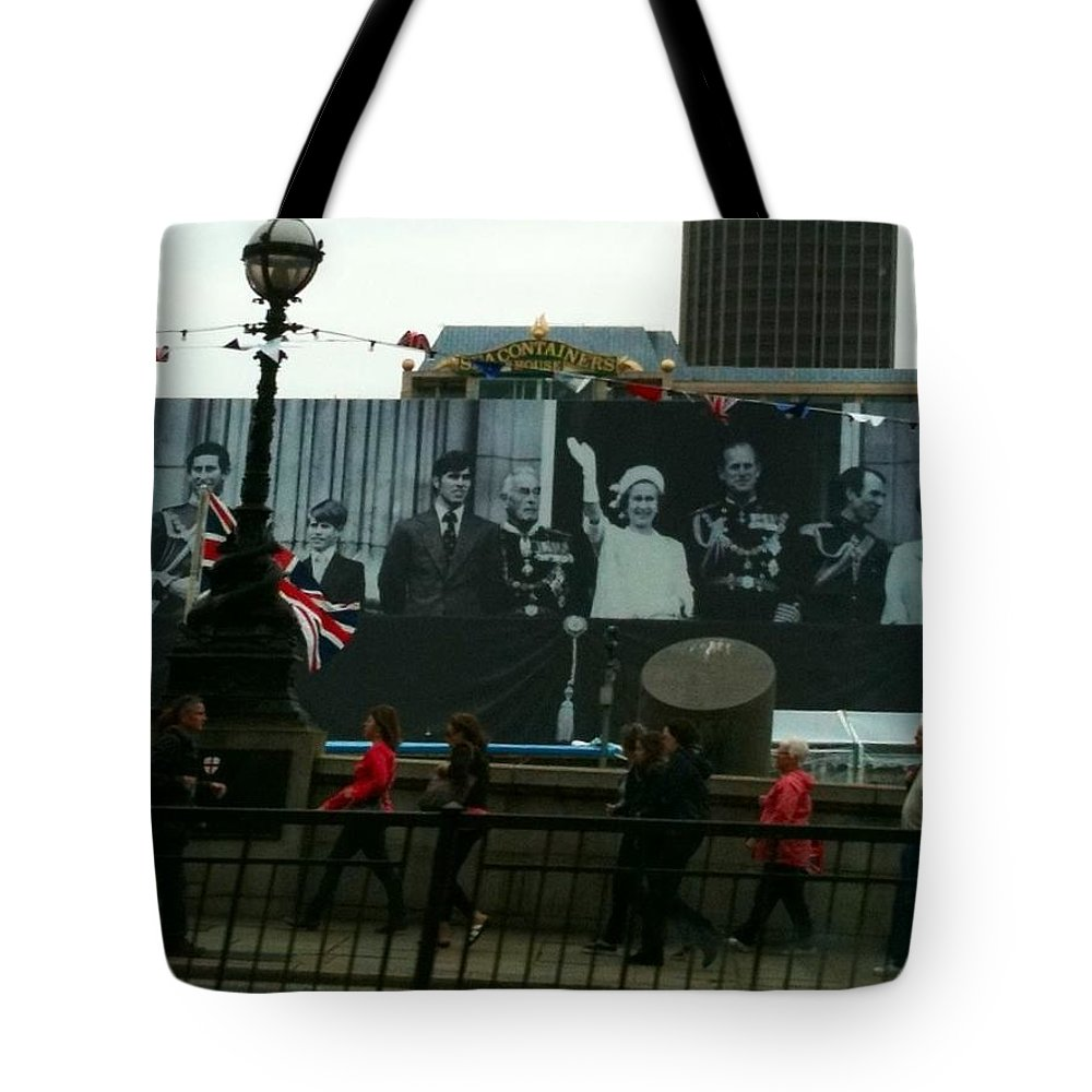 Queen Jubilee Tote Bag featuring the photograph A Color Coordinated Walk Before The Queen by Lois Ivancin Tavaf