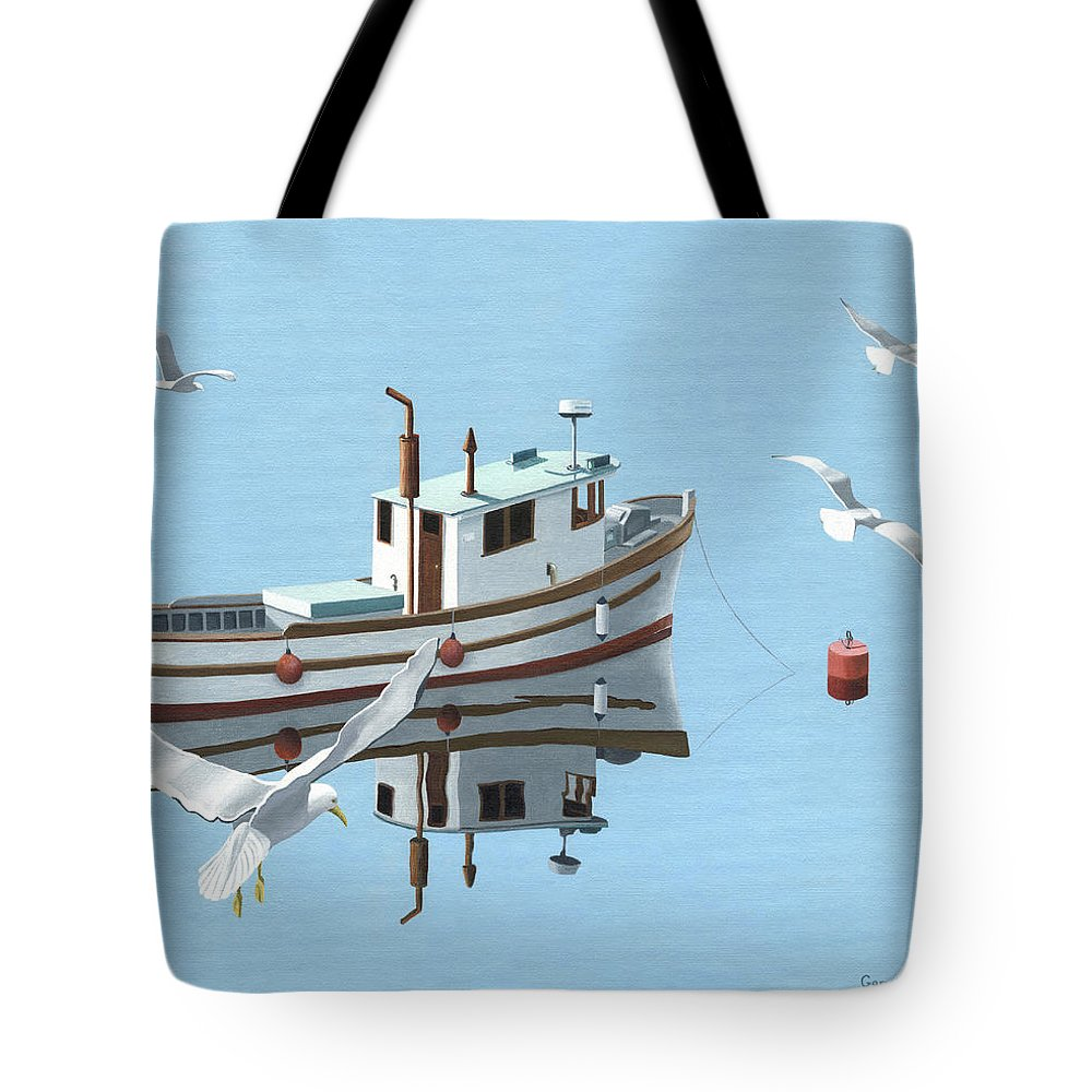 Boat Tote Bag featuring the painting A Contemplation Of Seagulls by Gary Giacomelli