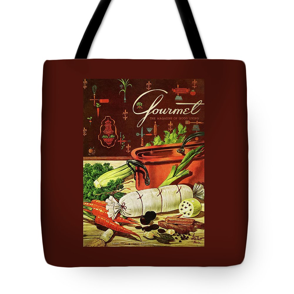 Food Tote Bag featuring the photograph A Copper Pot And Ingredients Of Ballontine De by Henry Stahlhut