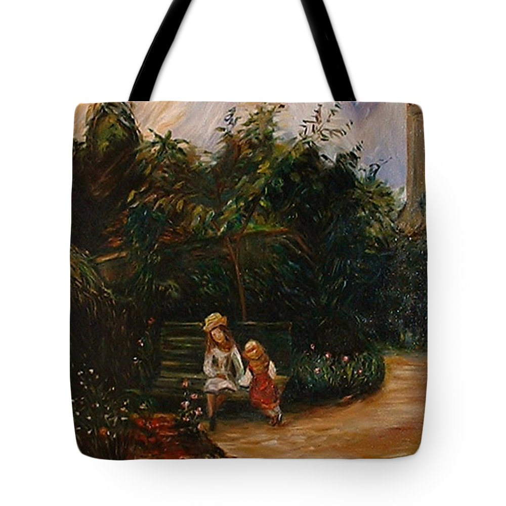 Classic Art Tote Bag featuring the painting A Corner Of The Garden At The Hermitage by Silvana Abel