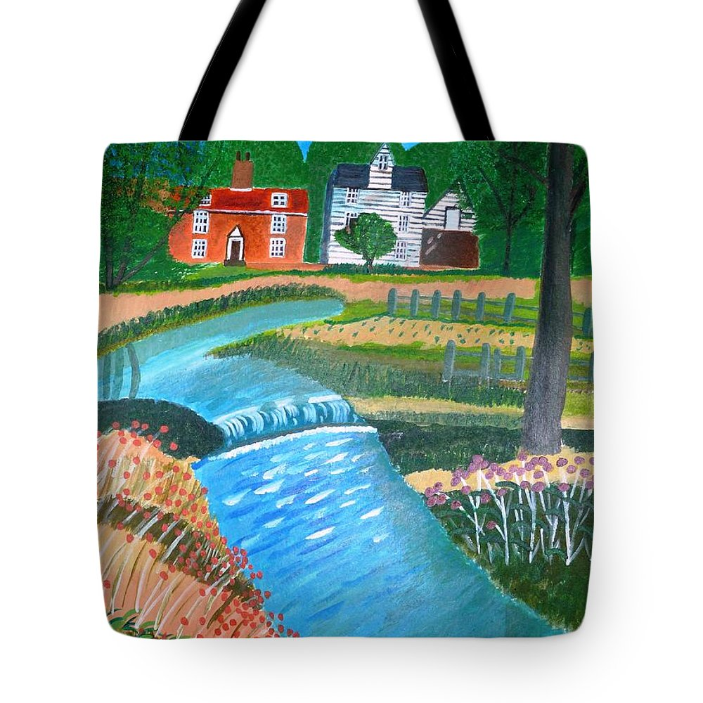 Landscape Tote Bag featuring the painting A Country Stream by Magdalena Frohnsdorff