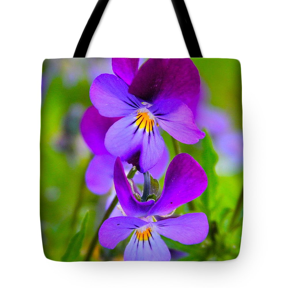 Flower Tote Bag featuring the photograph A Couple Of Pansies by Rick Monyahan