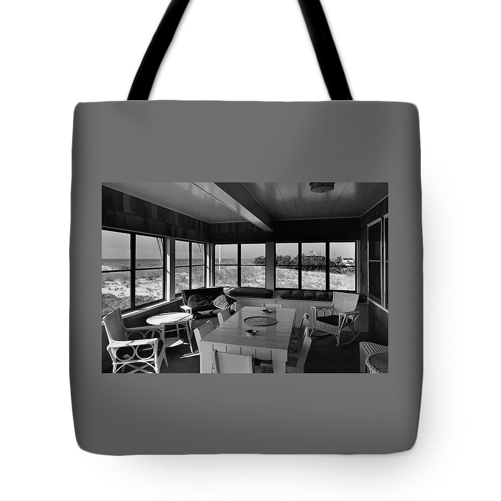 Home Tote Bag featuring the photograph A Covered Porch With A View by Gottscho-Schleisner