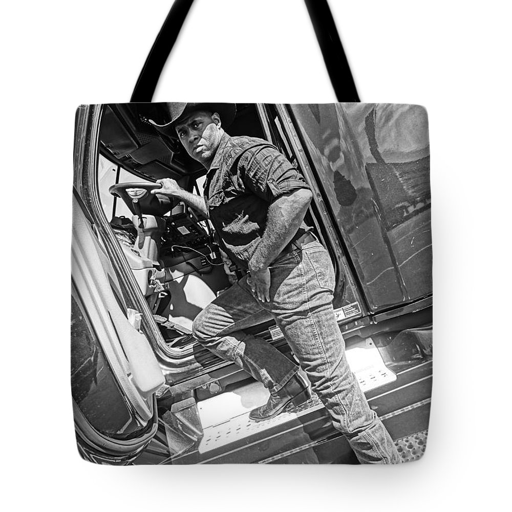 Cowboy Tote Bag featuring the photograph A Cowboy And His Truck by Korynn Neil