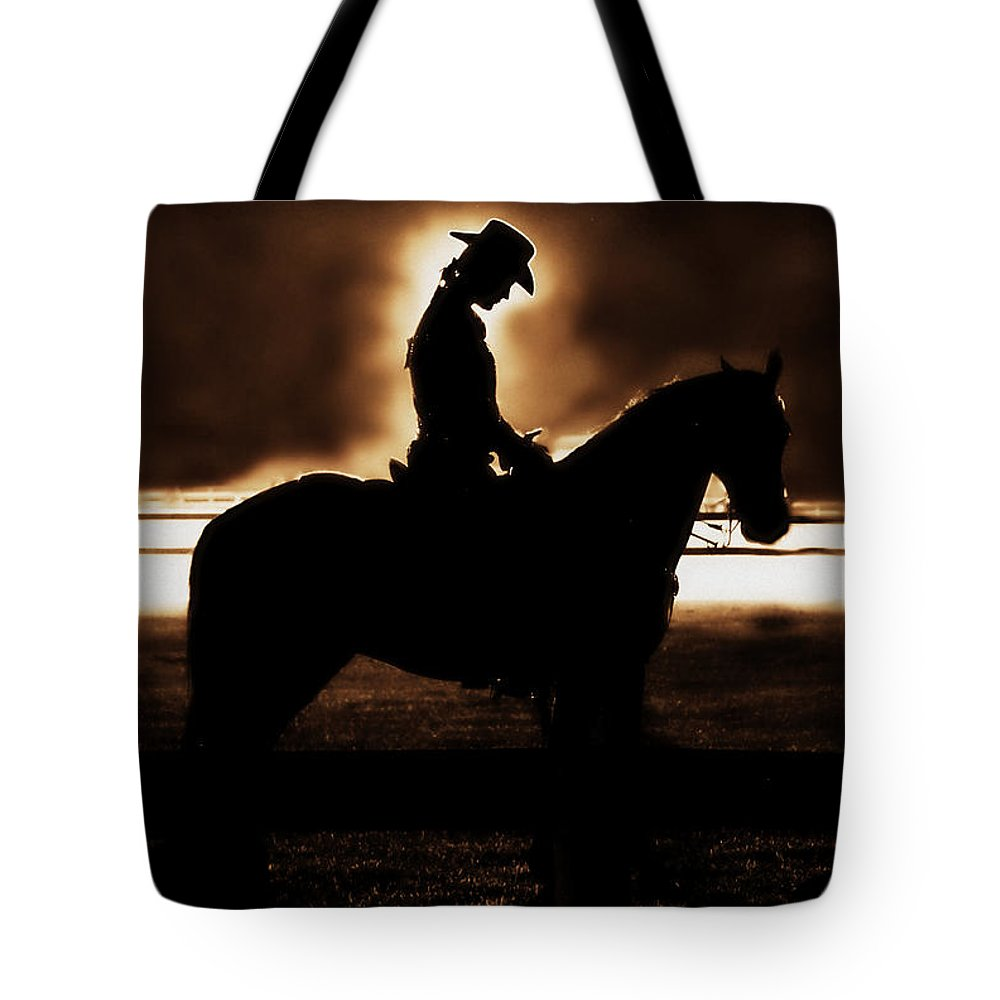 A Cowgirls Prayer Tote Bag featuring the photograph A Cowgirls Prayer Evening Ride by Chastity Hoff