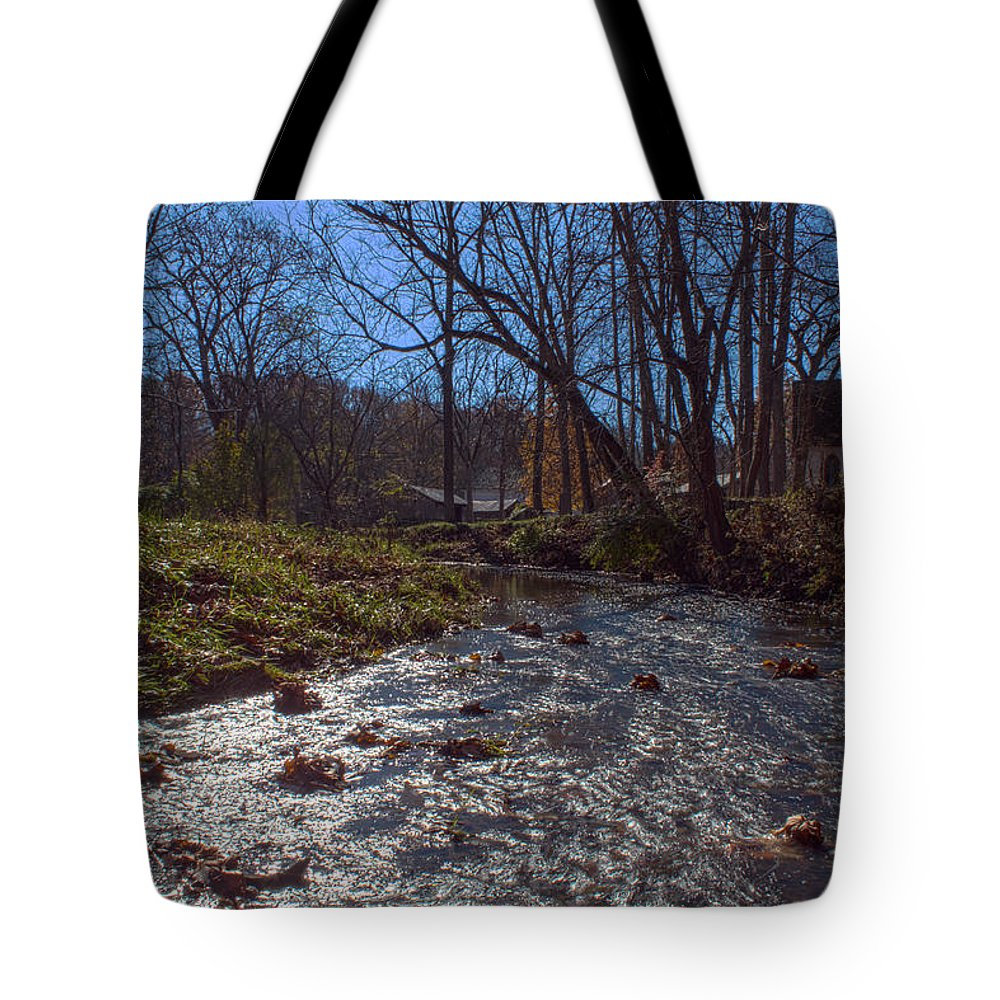 Parke Co Indiana Photographs Tote Bag featuring the photograph A Creek Runs Though It by Thomas Sellberg