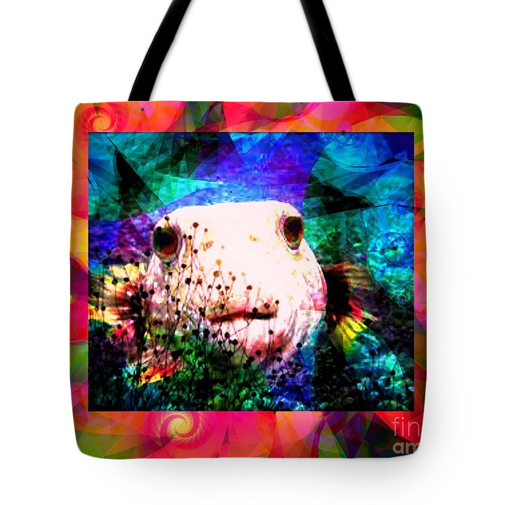 Fractal Art Tote Bag featuring the digital art A Curious Fellow by Elizabeth McTaggart