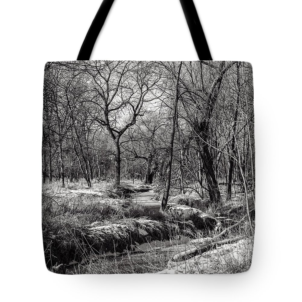 Www.cjschmit.com Tote Bag featuring the photograph A Dash Of Snow by CJ Schmit