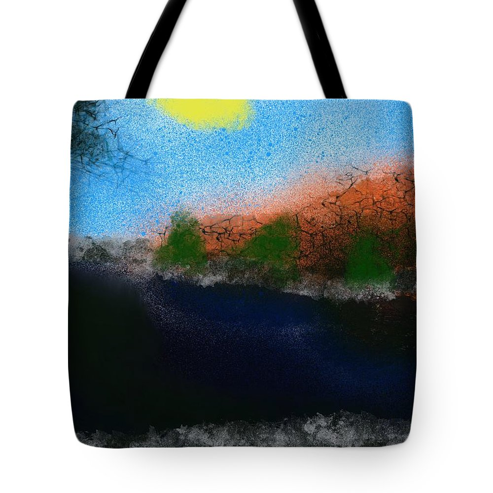 Lake Tote Bag featuring the painting A Day At The Lake by Bill Minkowitz