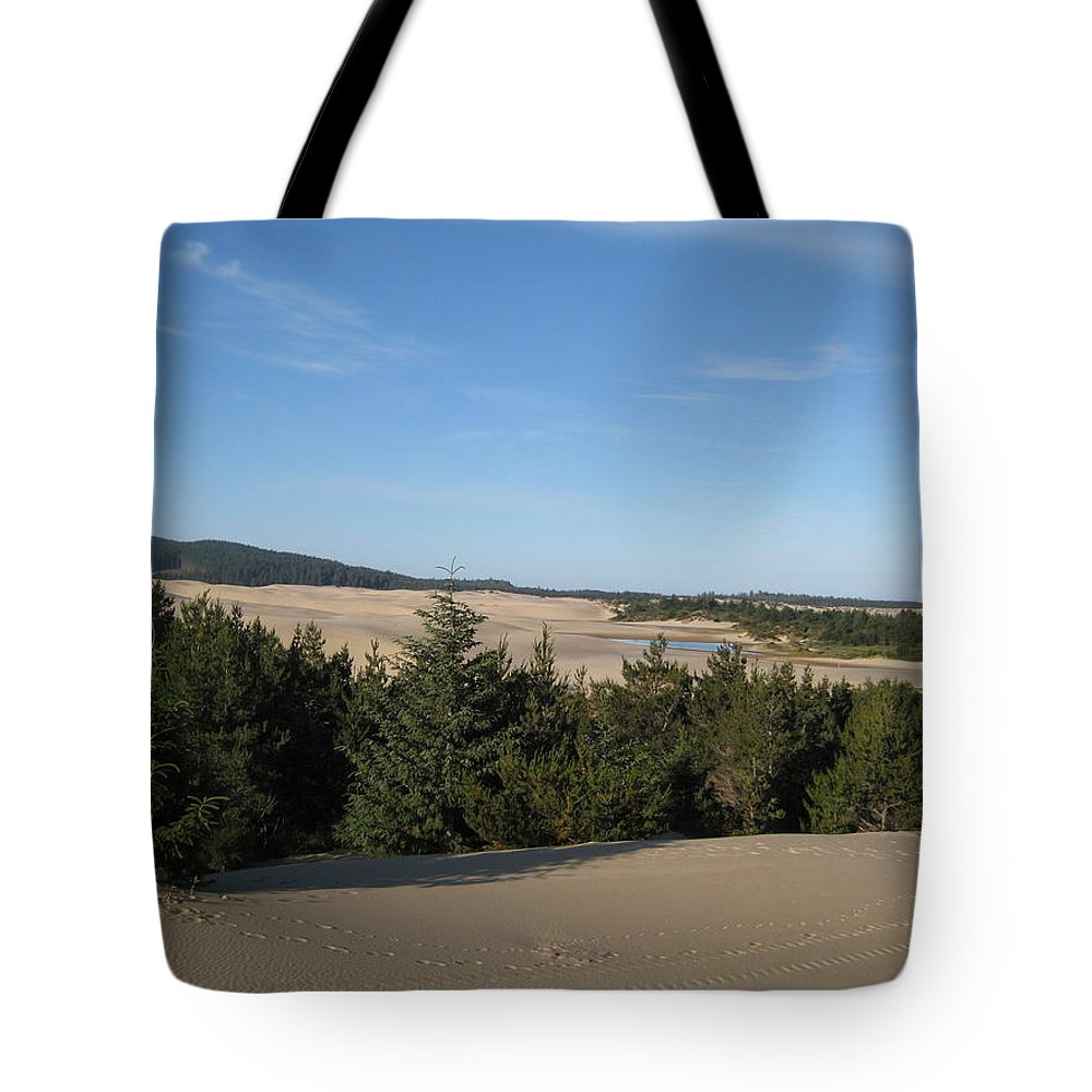Blue Sky Tote Bag featuring the photograph A Day On The Dunes by Kathy Raee Hansen