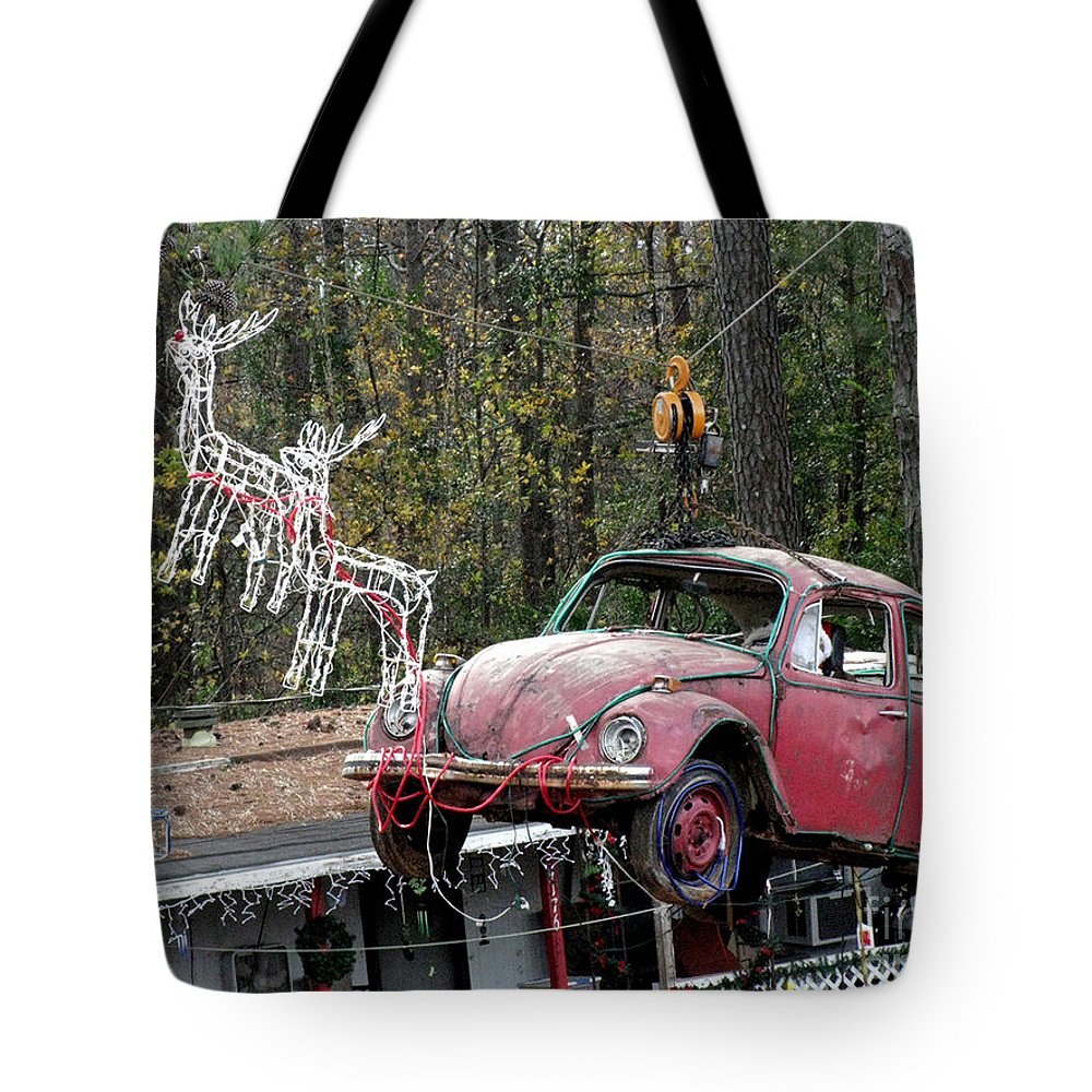 Reindeer Tote Bag featuring the photograph A Difference Sleigh by Donna Brown