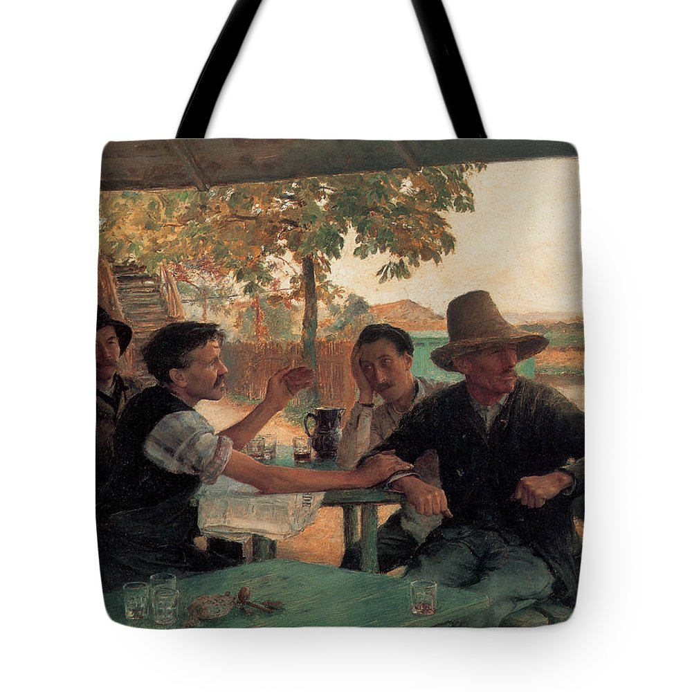 Emile Friant Tote Bag featuring the digital art A Discussion In Politics by Emile Friant