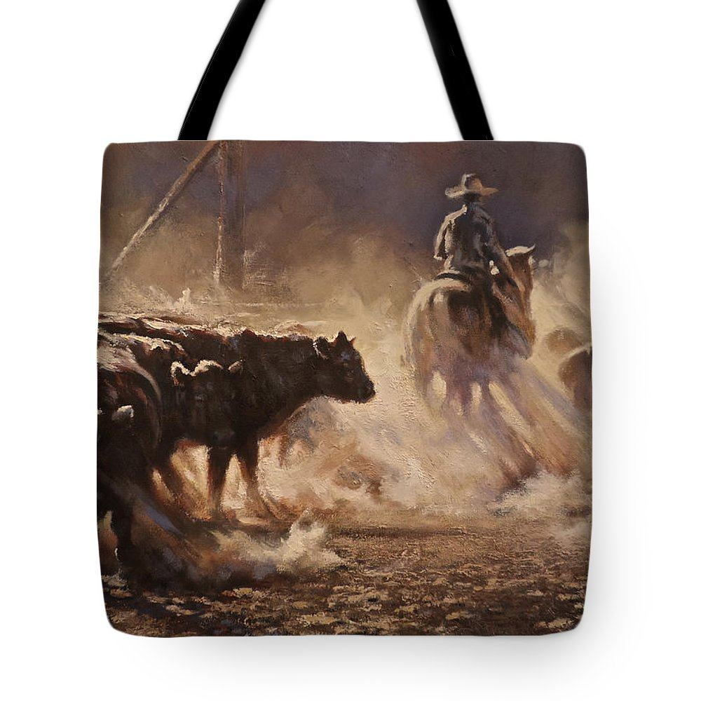 Cattle Tote Bag featuring the painting A Dusty Sort by Mia DeLode