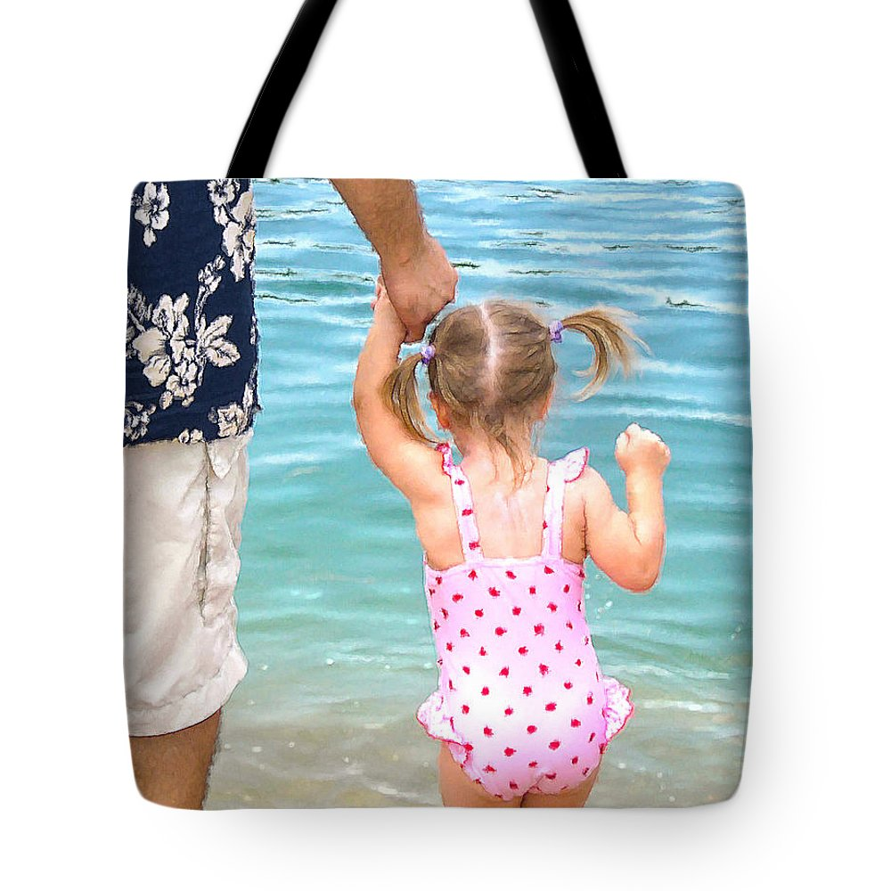 Water Tote Bag featuring the painting A Father's Love by Doug Kreuger