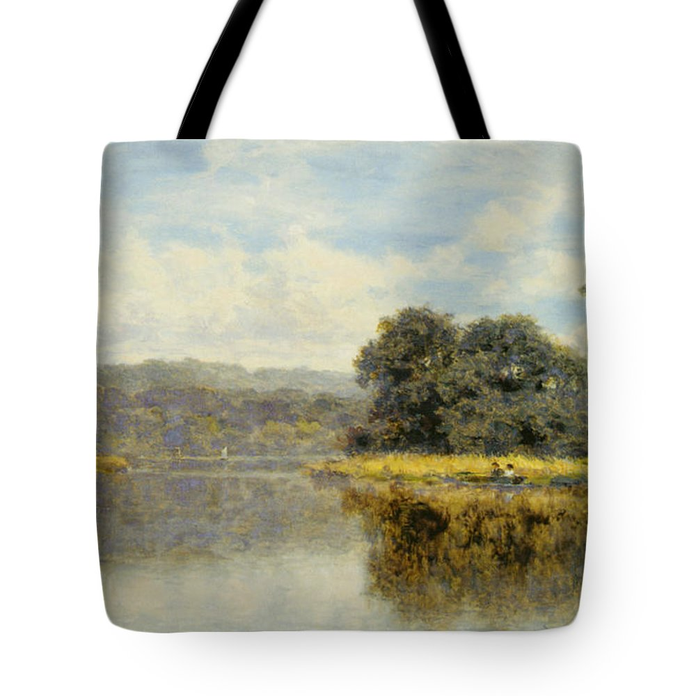 Benjamin Williams Leader Tote Bag featuring the digital art A Fine Day On The Thames by Benjamin Williams Leader