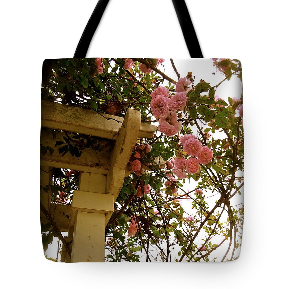 Pink Roses Tote Bag featuring the photograph A Fine Romance by Esther Wilhelm Pridgen