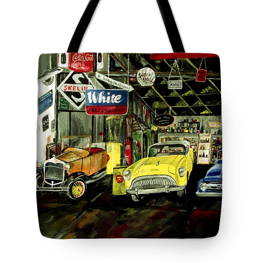 Old Car Tote Bag featuring the painting A Fine Time by Mark Moore