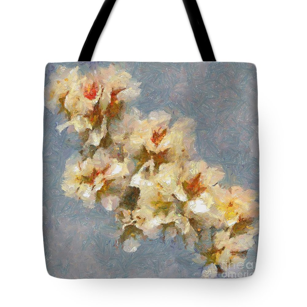 Still Life Tote Bag featuring the painting A Flourishing Cherry Branch by Dragica Micki Fortuna