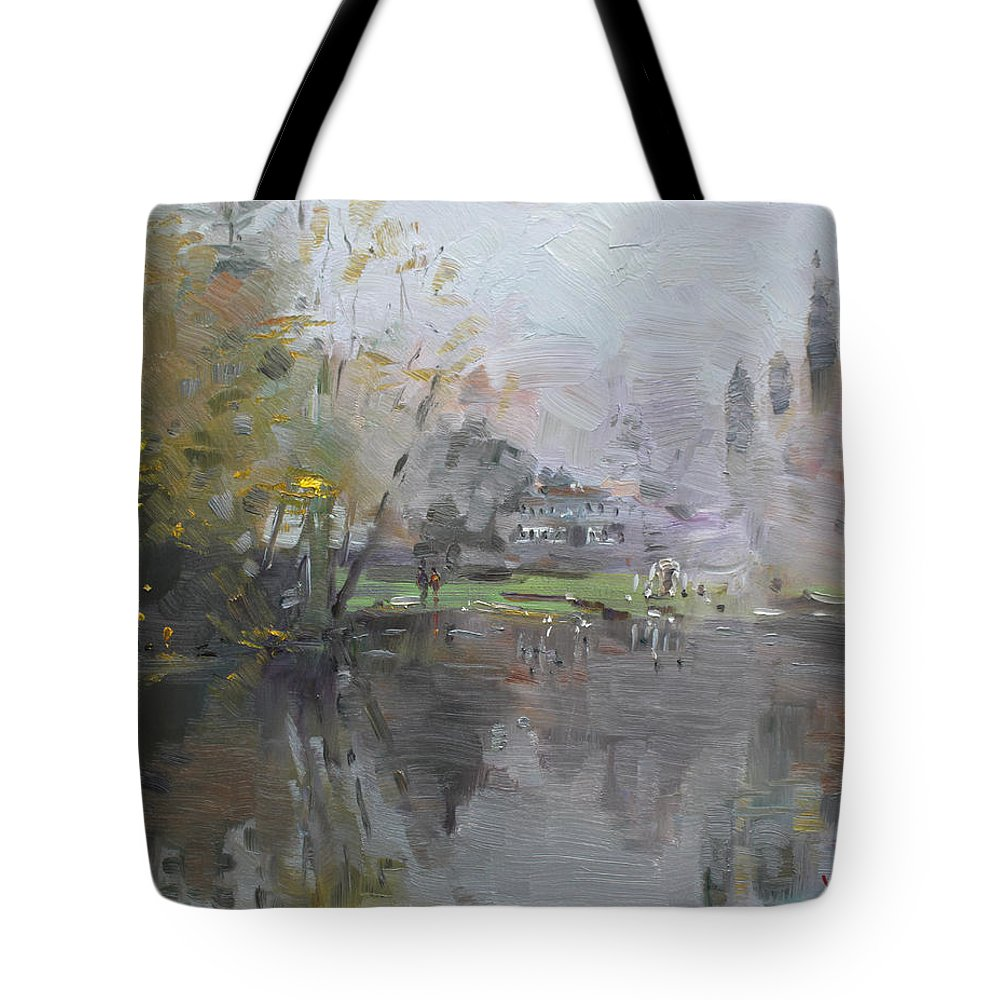 Foggy Tote Bag featuring the painting A Foggy Fall Day By The Pond by Ylli Haruni