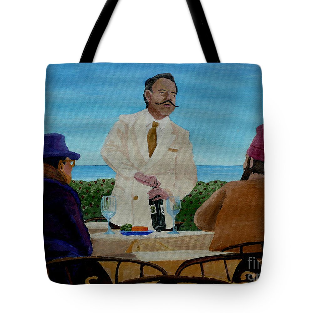 Wine Tote Bag featuring the painting A Fresh Bottle by Anthony Dunphy