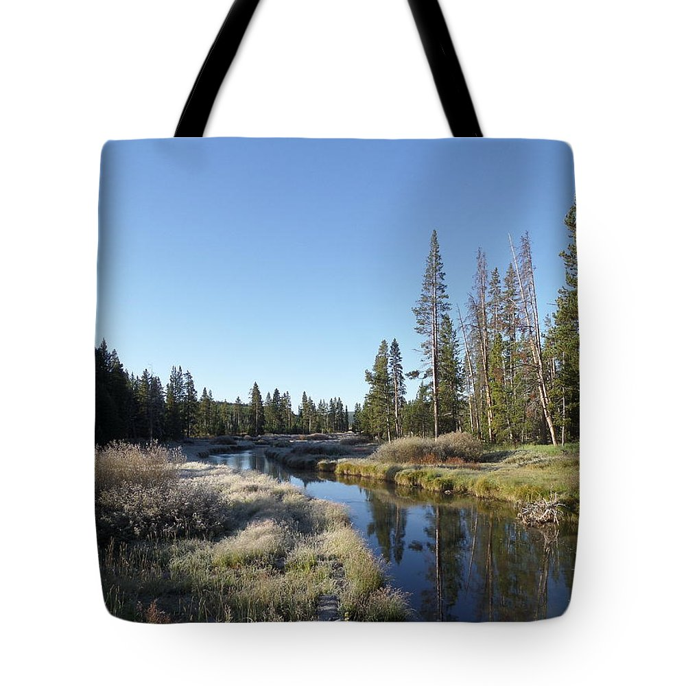 Blue Tote Bag featuring the photograph A Frosty Morning Along Obsidian Creek by Frank Madia