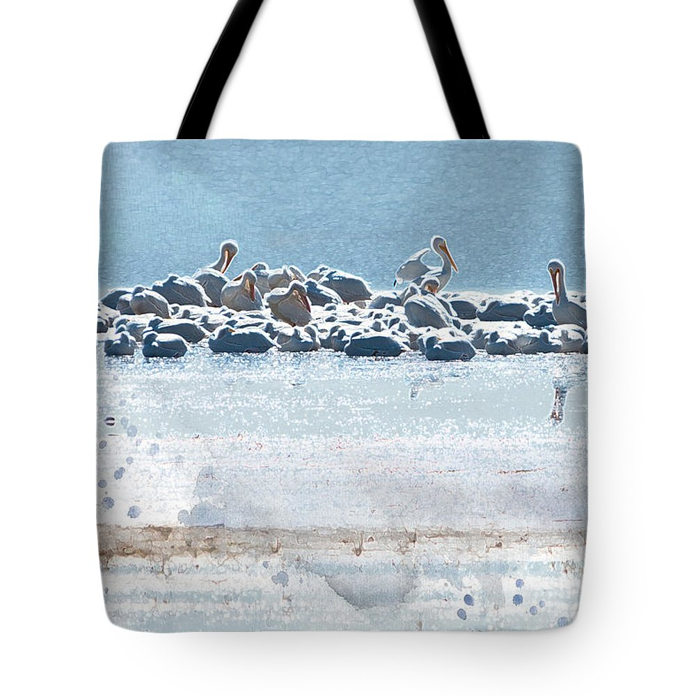 American White Pelican Tote Bag featuring the photograph A Gathering Of Pelicans by Betty LaRue