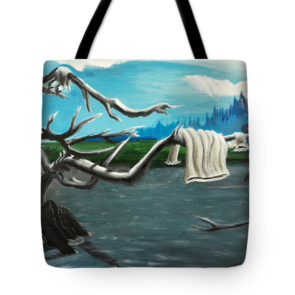 Water Tote Bag featuring the painting Aura On The Lake by Click Price Tags To Go Forward