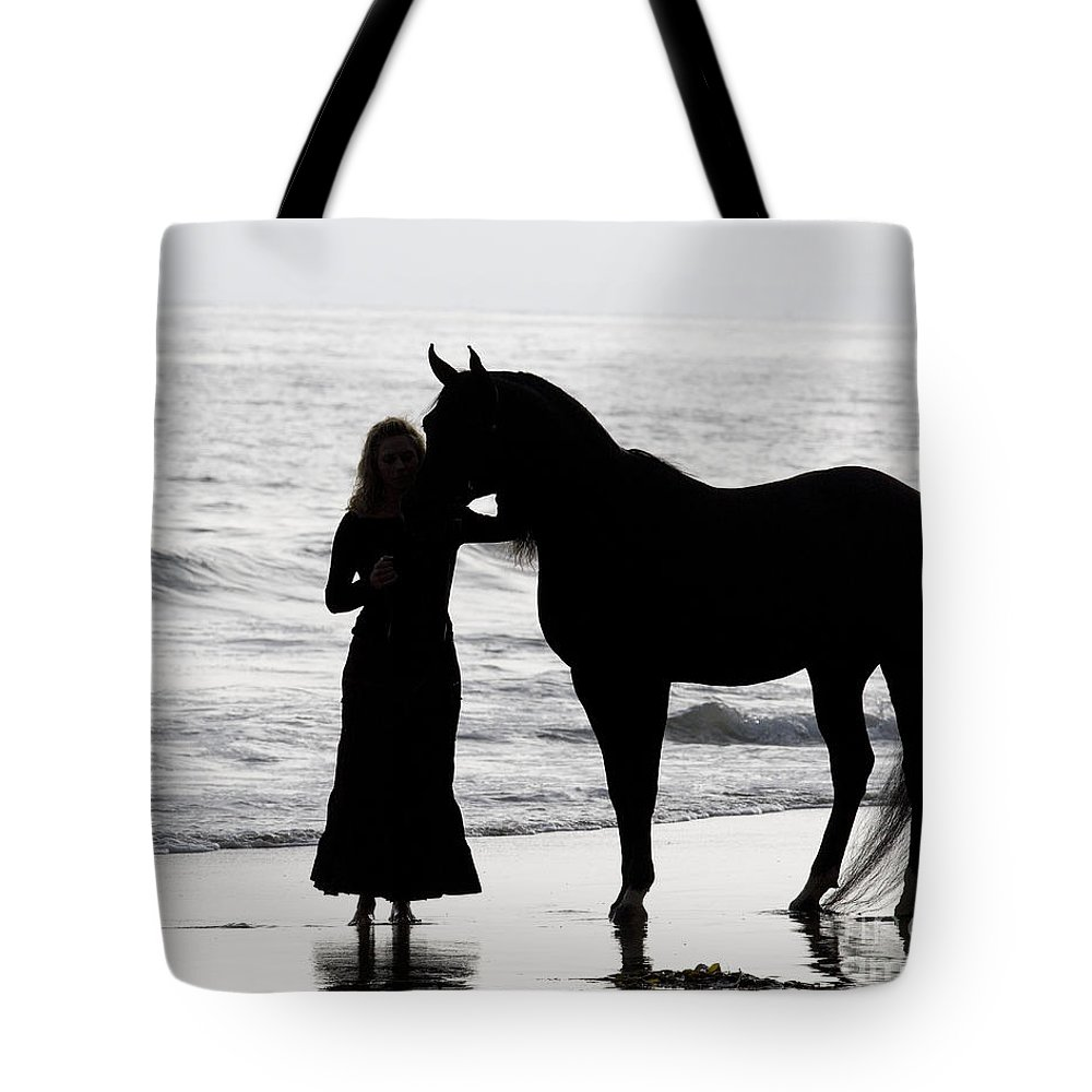 Arabian Tote Bag featuring the photograph A Girl And Her Horse by Carol Walker