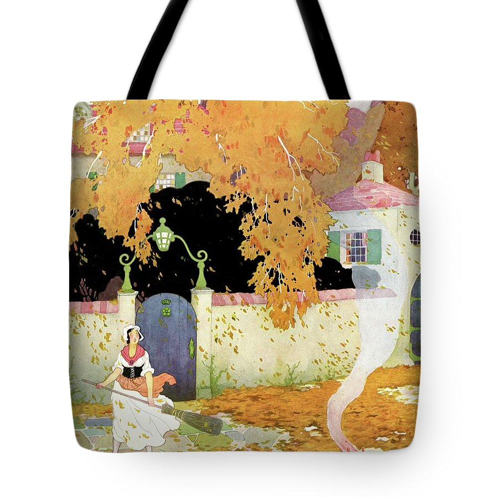 House And Garden Tote Bag featuring the photograph A Girl Sweeping Leaves by The Reeses