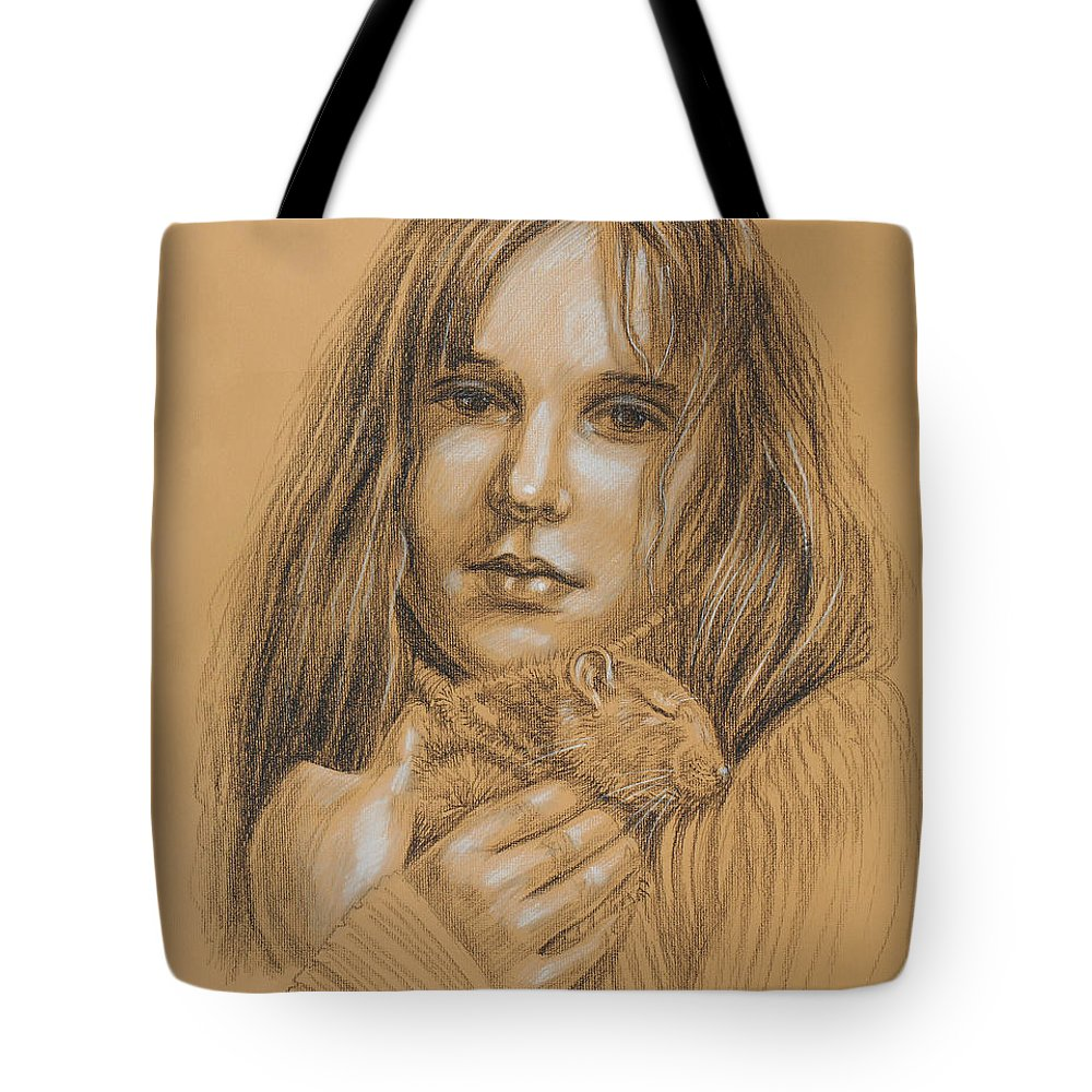 Girl Tote Bag featuring the drawing A Girl With The Pet by Irina Sztukowski