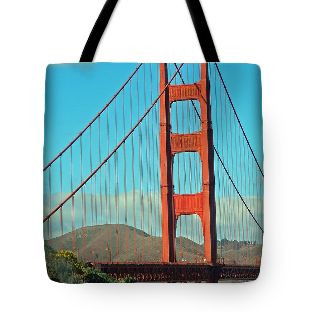 A Golden Gate View Tote Bag featuring the photograph A Golden Gate View by Emmy Vickers