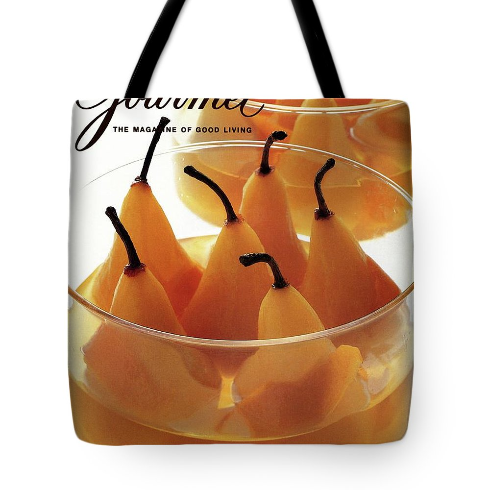 Food Tote Bag featuring the photograph A Gourmet Cover Of Baked Pears by Romulo Yanes
