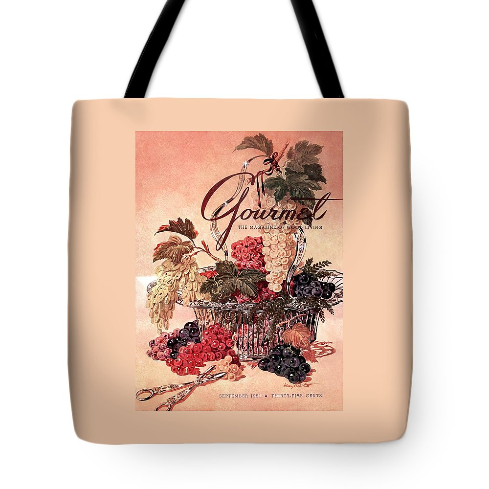 Illustration Tote Bag featuring the photograph A Gourmet Cover Of Grapes by Henry Stahlhut