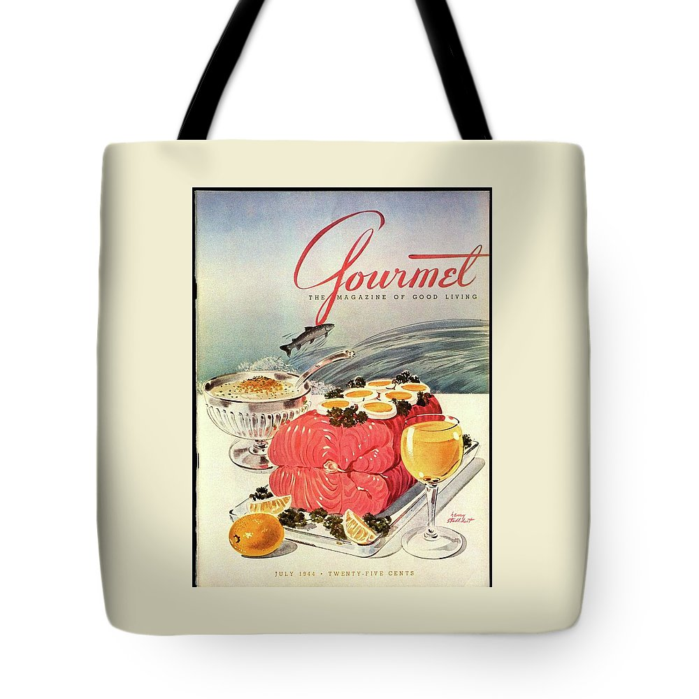 Food Tote Bag featuring the photograph A Gourmet Cover Of Poached Salmon by Henry Stahlhut
