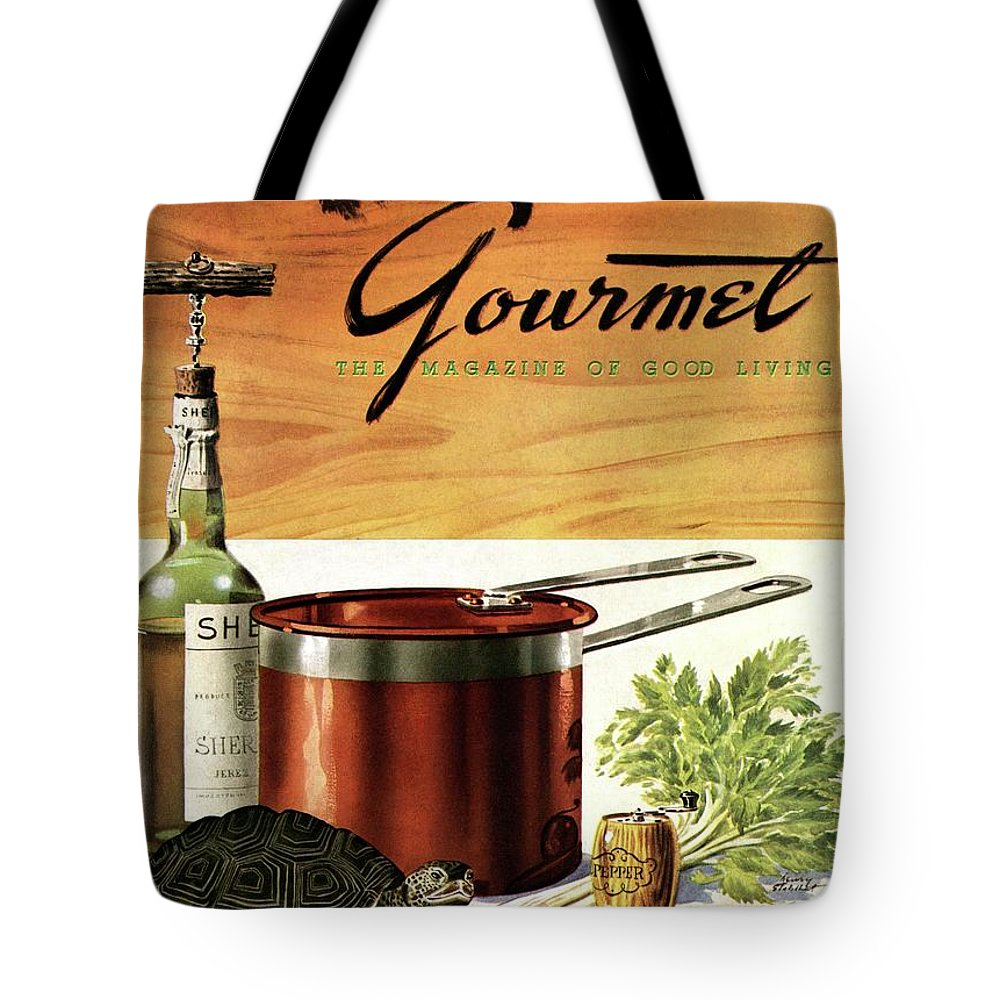 Illustration Tote Bag featuring the photograph A Gourmet Cover Of Turtle Soup Ingredients by Henry Stahlhut
