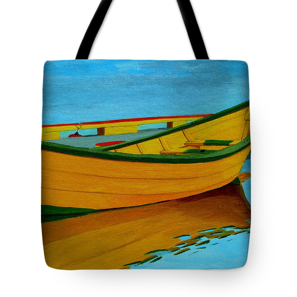 Grand Banks Tote Bag featuring the painting A Grand Banks Dory by Anthony Dunphy
