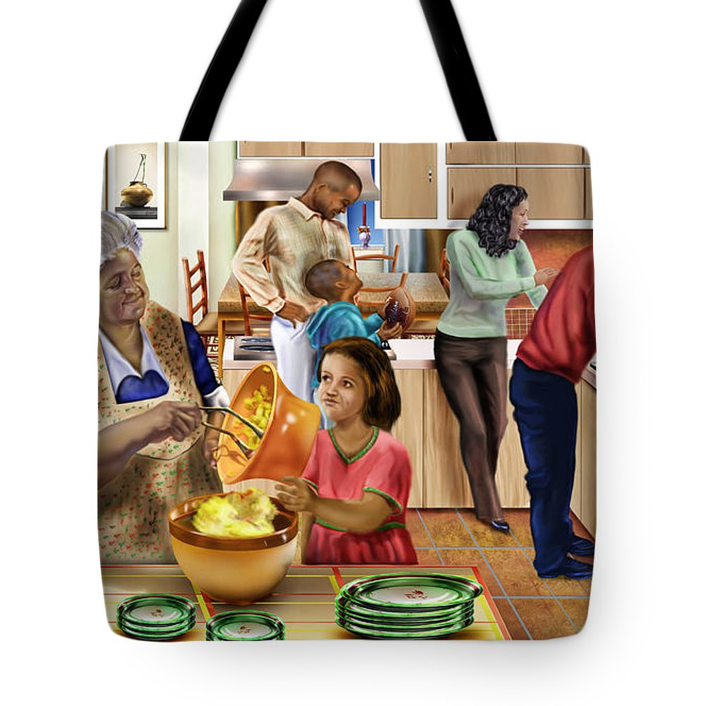 African American Family Tote Bag featuring the painting A Grandma And Grandpop Christmas by Reggie Duffie