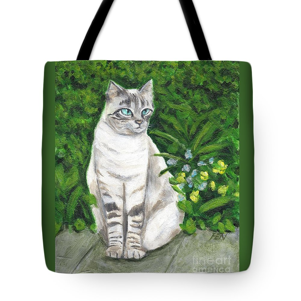 Grey Cat Tote Bag featuring the painting A Grey Cat At A Garden by Jingfen Hwu