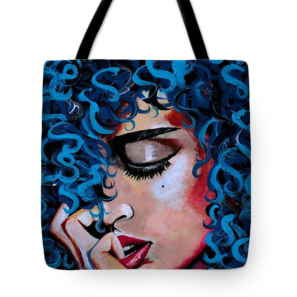 Model Tote Bag featuring the photograph A Happy Woman is a Satisfied Woman by Artist RiA