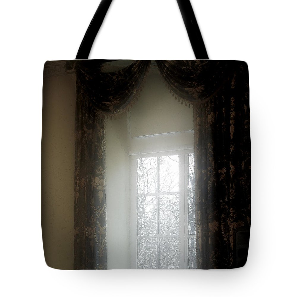 Curtains Tote Bag featuring the painting A Hazy Shade Of Winter by RC DeWinter