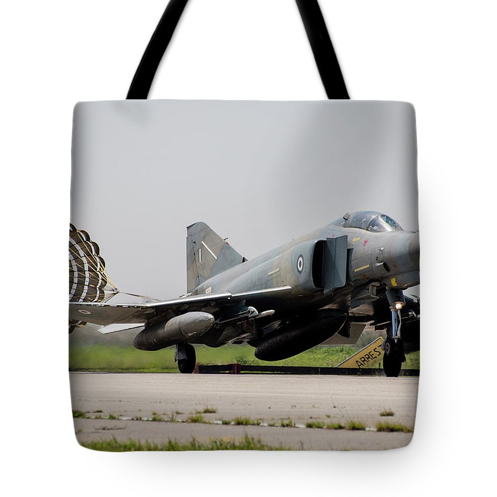 Greece Tote Bag featuring the photograph A Hellenic Air Force F-4e Phantom by Timm Ziegenthaler