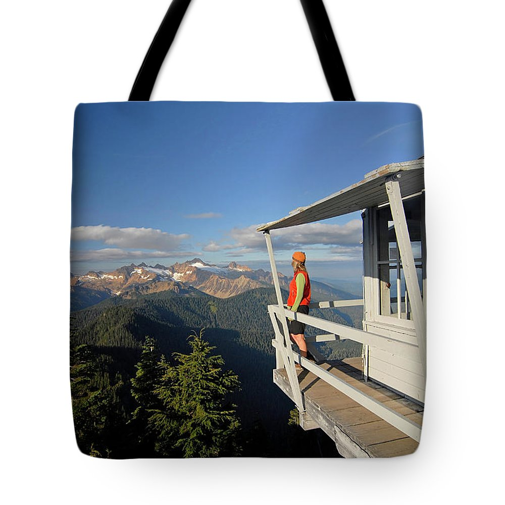 Balcony Tote Bag featuring the photograph A Hiker Enjoys The View by Cliff Leight