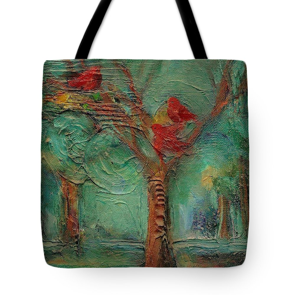 Whimsical Bird Painting Tote Bag featuring the painting A Home In The Woods by Mary Wolf