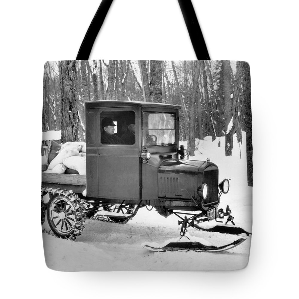 1920's Tote Bag featuring the photograph A Homemade Snowmobile by Underwood Archives