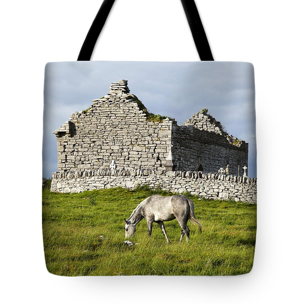 Building Tote Bag featuring the photograph A Horse Grazing In A Field by Peter Zoeller