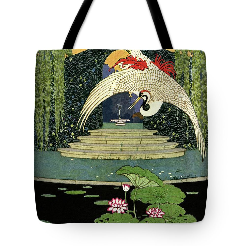 Illustration Tote Bag featuring the photograph A House And Garden Cover A Bird Over A Pond by H. George Brandt